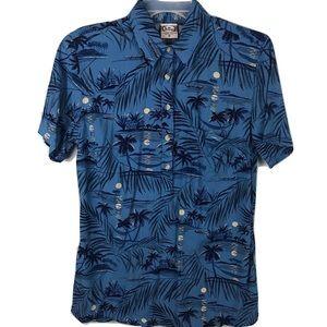 Go Barefoot Hawaiian Shirt 1/2 Button Blue Floral